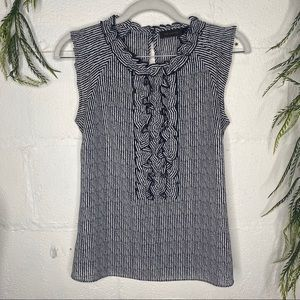 The Limited Navy Ruffle Front Sleeveless Top XS